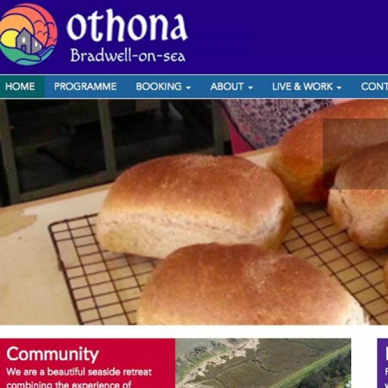 Website homepage with a photo of fresh baked bread
