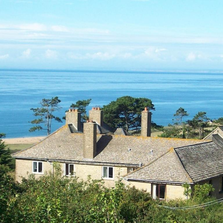 View of Othona West Dorset and the sea